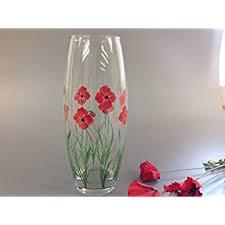 Design For Vase Painting Hand Painted Glass Vase Poppy Design Amazon Co Uk Kitchen U0026 Home