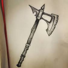 drawn axe fancy pencil and in color drawn axe fancy