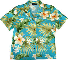 vibrant hibiscus womens blue hawaiian shirt
