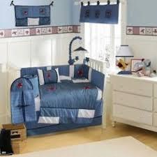 blue chevron red crib bedding vintage airplane theme nursery