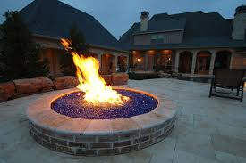 Firepit Glass Pit With Blue Glass Rocks Mediterranean Patio Dallas