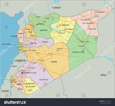 Syria World Map by Syria Highly Detailed Editable Political Map Stock Vector