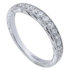 gabriel and co wedding bands engraved diamond wedding ring with milgrain beading freedman