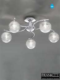 franklite glass u0026 chrome 5 light ip44 bathroom ceiling fitting