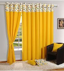 Yellow Curtain Buy Yellow Cotton Solid Plain Eyelet Curtain By Swayam