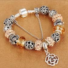 snake chain charm bracelet images Homod dropshipping snake chain charm bracelet with flower rose jpg