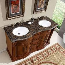 Double Sink Vanities For Small Bathrooms by 55 Inch Double Sink Vanity With Baltic Brown Top And Undermount