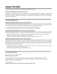 enchanting sample accounting internship resume objective in resume