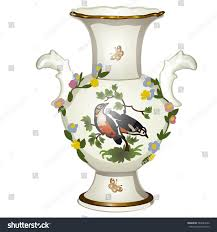 White Ceramic Floor Vase Single Ceramic Floor Vase Oriental Ornaments Stock Vector