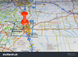 Colorado On A Map by Colorado Springs Pinned On Map Usa Stock Photo 577877932