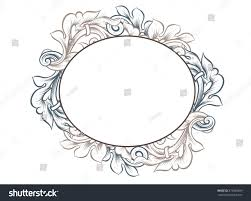 vintage ornamental oshaped frame empty border stock illustration