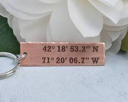 personalized keychain party favors longitude latitude keychain leather personalized gps