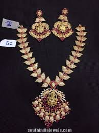 leaf pattern necklace leaf pattern ad studded necklace south india jewels