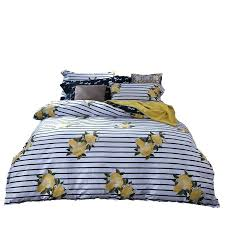 Queen Girls Bedding by Stripe Floral Print Girls Bedding Set Cotton Bed Linen Queen Bed