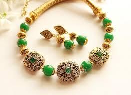 green necklace set images Ethnic green necklace set antique gold tone necklace set at jpg