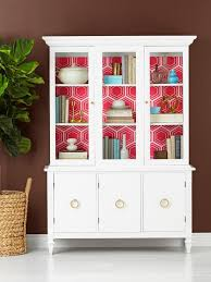 china cabinets hutches how to wallpaper the inside of a china cabinet hgtv