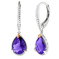 purple drop earrings colore pear shape amethyst drop earrings in sterling silver and