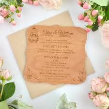 round wedding invitations engraved wooden royal wedding invitations personalised favours
