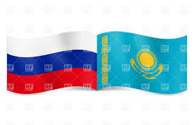 Kazakhstan Flag Russia And Kazakhstan Flags Together Royalty Free Vector Clip Art
