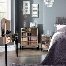 Already Assembled Bedroom Furniture by Viola Rose Gold Mirrored 4 Drawer Chest Dunelm H O M E