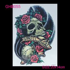 3d arm flashes colorful skull temporary tatoo sticker