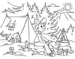 summer vacation coloring pages camping coloring pages getcoloringpages com