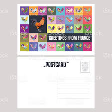 vector postcard design with symbol rooster stock