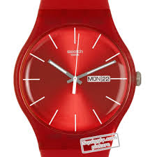 red swatch swatch suor701 watch red rebel