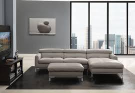Light Gray Leather Sofa Light Grey Leather Modern Sectional Sofa W Optional Ottoman