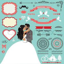 invitation card cartoon design wedding invitation card decor set cartoon kissing couple bride and