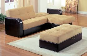 Two Tone Wood Floor Small L Shaped Leather Couch With Ottoman Set Design In Two Tone