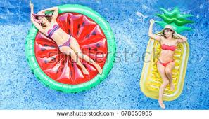 Inside Swimming Pool Happy Friends Playing Ball Inside Swimming Stock Photo 670239541