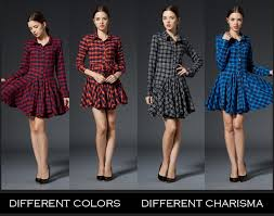 new british style women lapel collar grid plaid check print dress