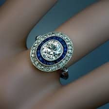an early art deco diamond and sapphire vintage engagement ring