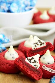 holiday red velvet kiss cookies sweet spicy kitchen