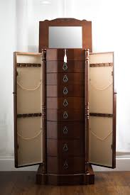 Jewelry Box Mirror Stand Robyn Jewelry Armoire Rich Walnut Hives And Honey