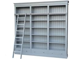 large painted library bookcase with ladder 100 solid wood display