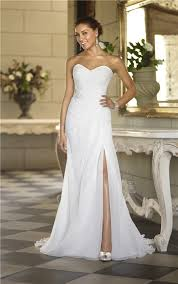 garden wedding dresses strapless chiffon ruched corset garden wedding dress with slit
