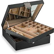 jewelry box necklace holder images Glenor co 28 section jewelry box 2 layer buckle jpg