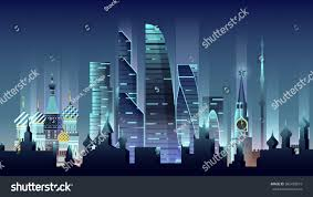 stock vector illustration background city night stock vector