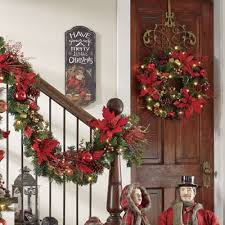 pre lit poinsettia wreath and garland from country door nx728734