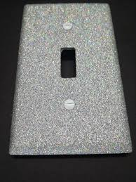 bling home decor shiny silver rainbow opal holographic bling glitter light switch