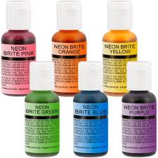 us cake supply by chefmaster airbrush cake neon color set in 0 7