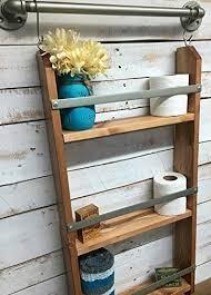 Ladder Shelf For Bathroom Amazon Com Wood Ladder Shelf Wooden Wall Shelf Rustic Bathroom