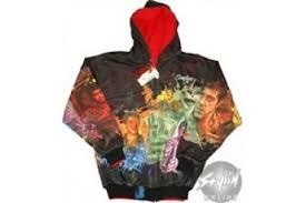 scarface color collage reversible full zipper hooded sweatshirt