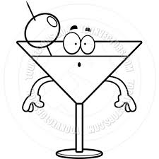 martini clip art cartoon martini surprised black and white line art by cory