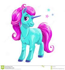 cute cartoon blue unicorn with pink hair stock vector image