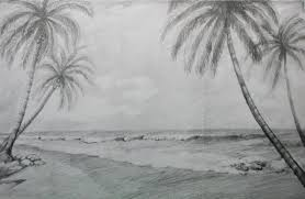 how to draw a beach landscape with pencil youtube