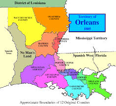 louisiana map with counties non