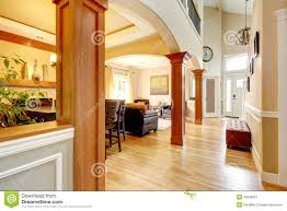 house interior view of dining area entrance hall stock photo